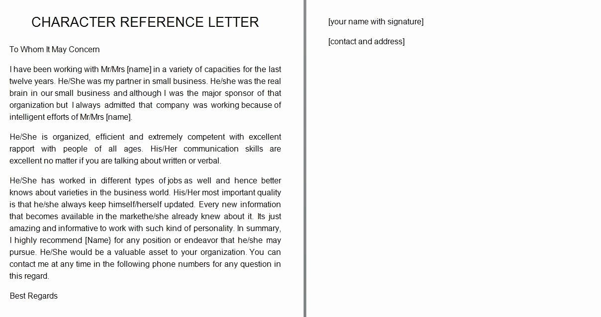 Free Reference Letter Template Fresh 41 Free Awesome Personal Character Reference Letter