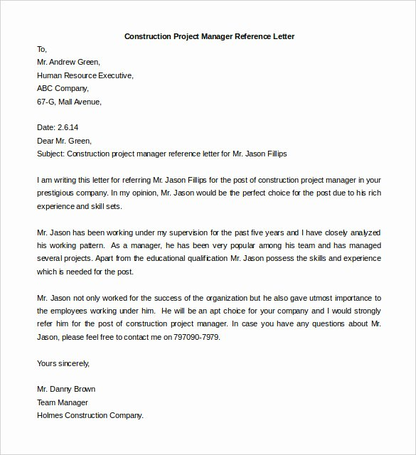 Free Reference Letter Template Fresh Free Reference Letter Templates 24 Free Word Pdf