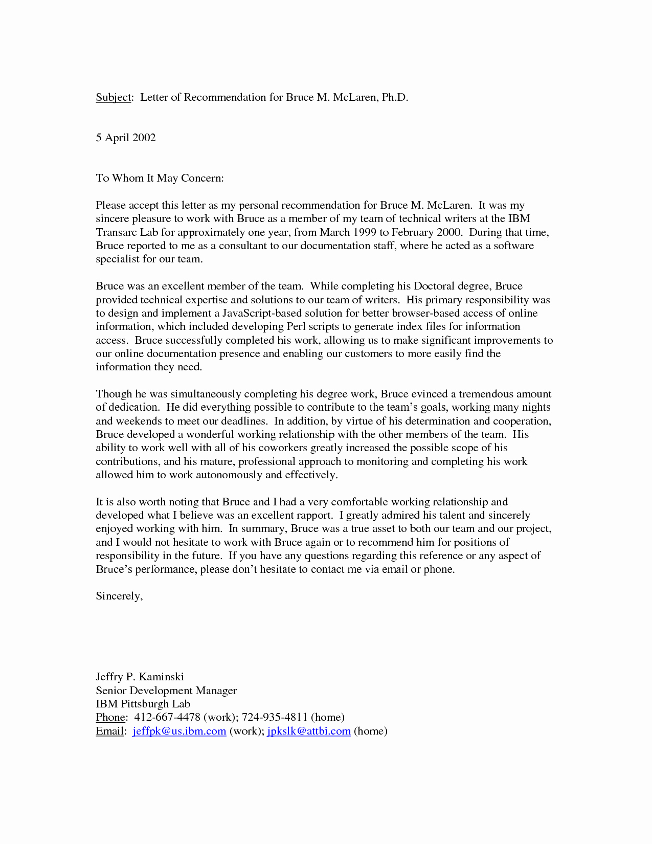 Free Reference Letter Template Inspirational Personal Letter Re Mendation