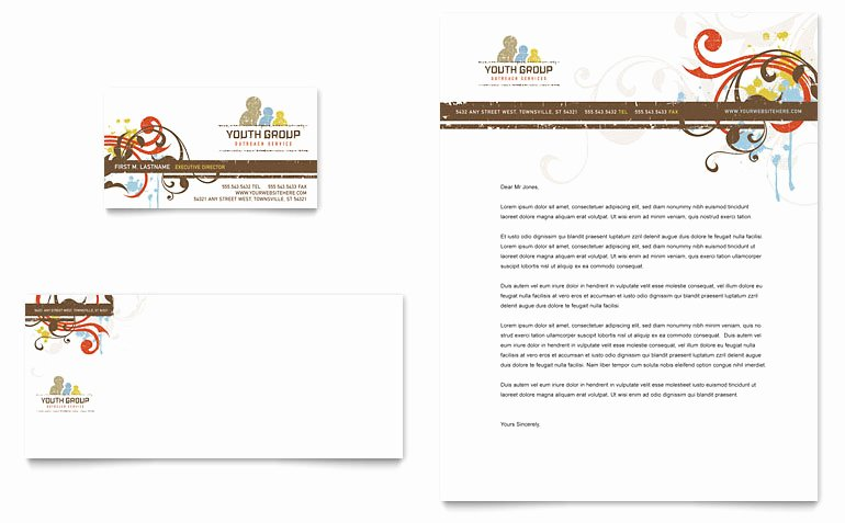 Free Religious Letterhead Templates Lovely Church Youth Group Business Card & Letterhead Template