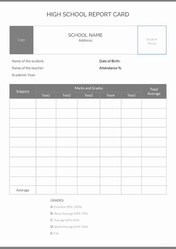 Free Report Card Template Inspirational School Report Template 24 Free Sample Example format