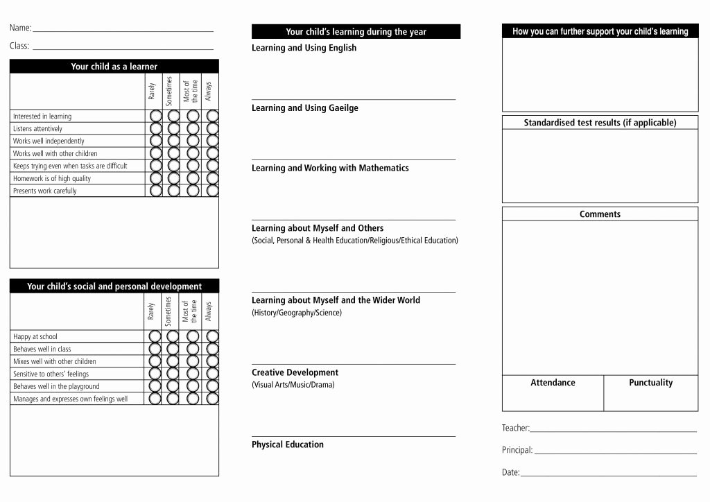 Free Report Card Template Unique Report Card Template 33 Free Word Excel Documents