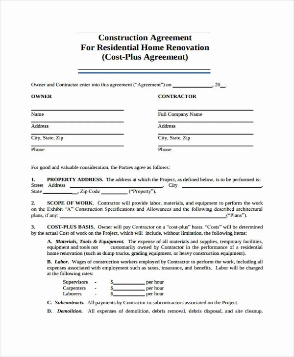 Free Residential Roofing Contract Template Awesome Free 9 Construction Agreement form Samples In Sample