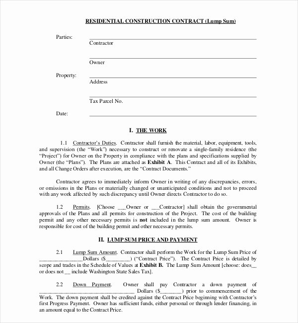 Free Residential Roofing Contract Template Best Of Free 10 Sample Construction Contract forms