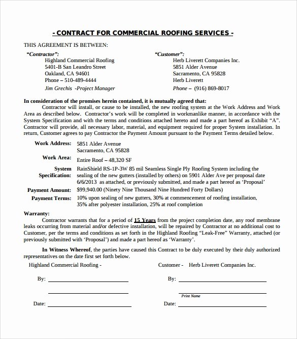 Free Residential Roofing Contract Template Elegant Roofing Contract Template 13 Download Documents In Pdf