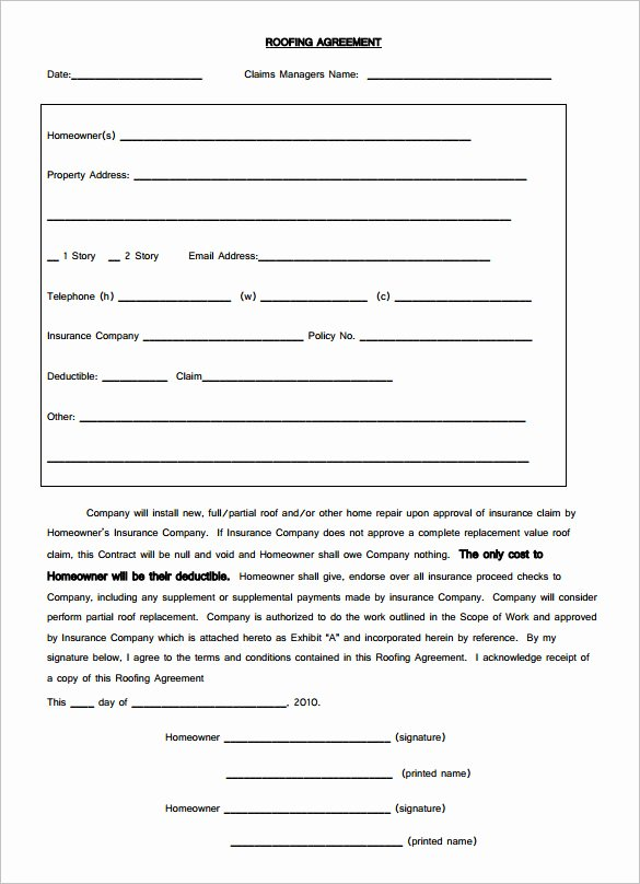 Free Residential Roofing Contract Template Fresh 15 Roofing Contract Templates Word Pdf Google Docs