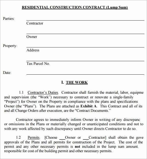 Free Residential Roofing Contract Template Fresh Construction Contract 7 Free Pdf Download
