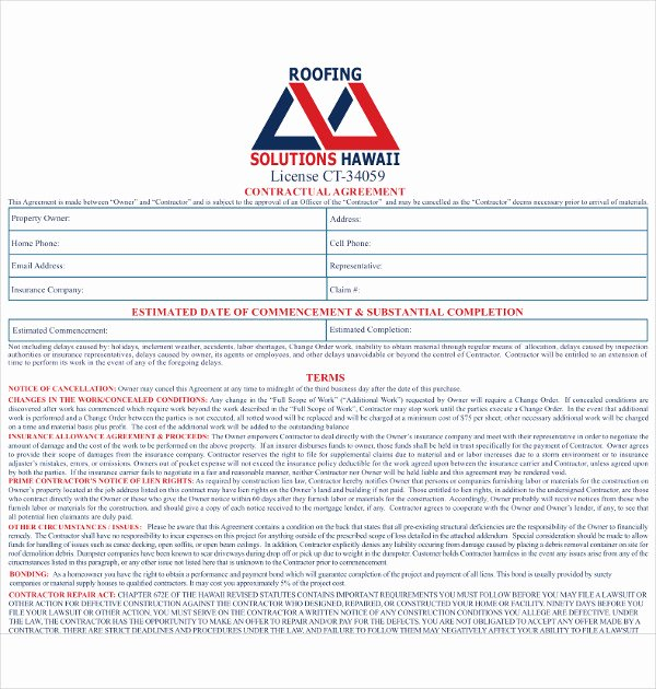 Free Residential Roofing Contract Template Luxury 15 Roofing Contract Templates Word Pdf Google Docs