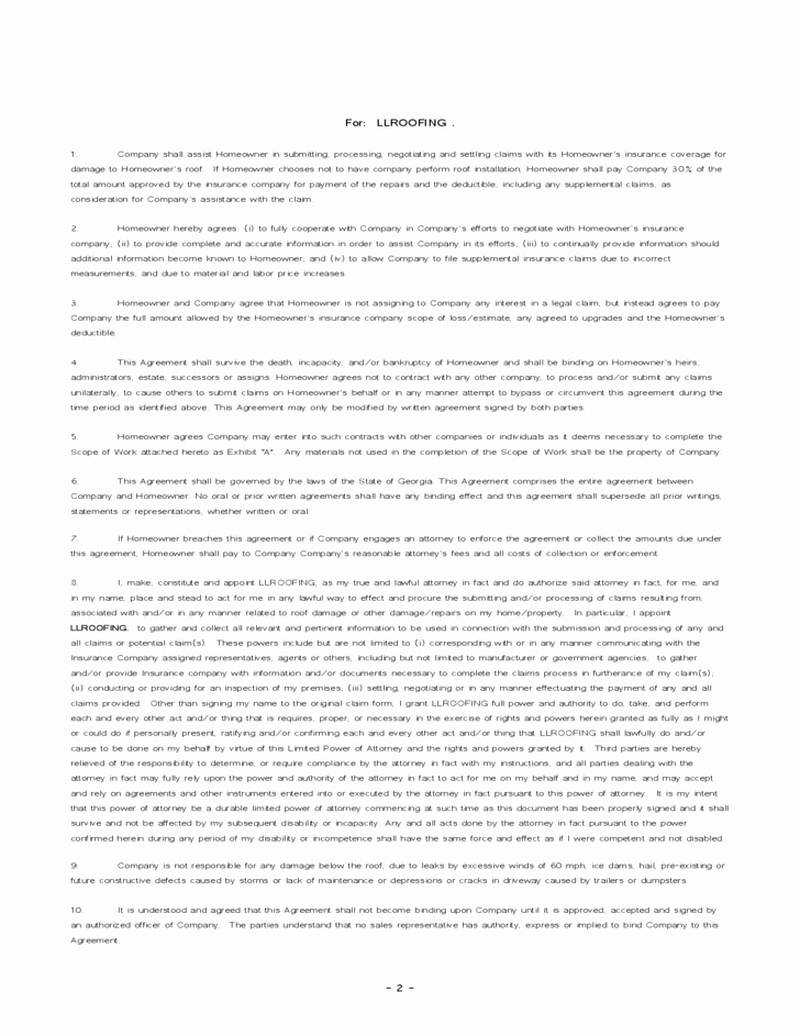 Free Residential Roofing Contract Template Luxury Roofing Agreement Free Download