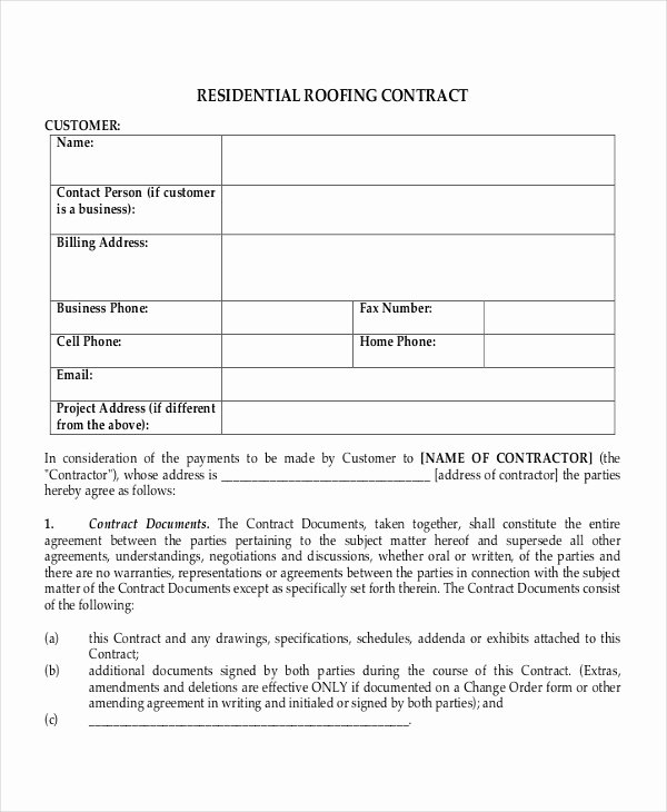 Free Residential Roofing Contract Template Luxury Sample Roofing Contracts Free Download Aashe