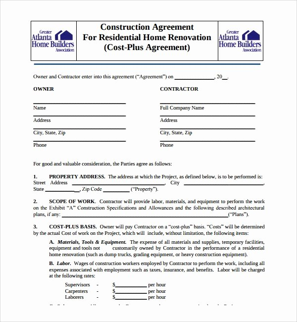 Free Residential Roofing Contract Template New Sample Construction Agreement Template 6 Free Documents