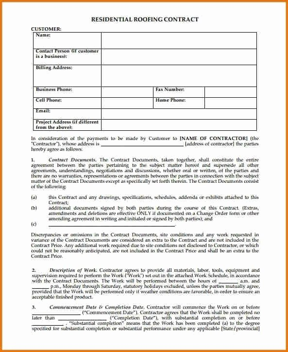 Free Residential Roofing Contract Template Unique Free Residential Roofing Contract Template 2018
