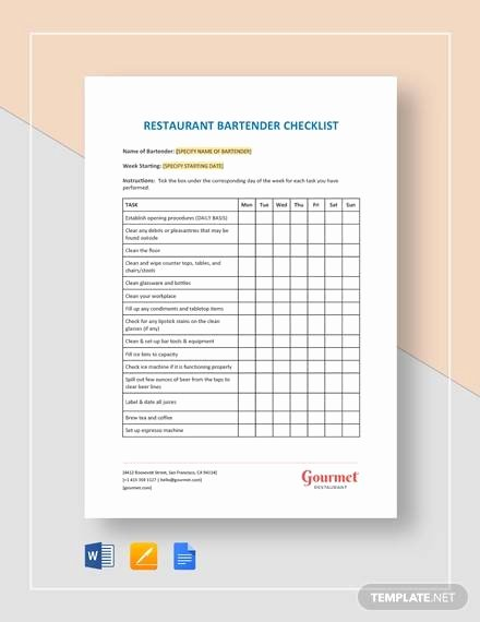 Free Restaurant Checklist Templates Awesome Sample Restaurant Checklist Template 25 Free Documents