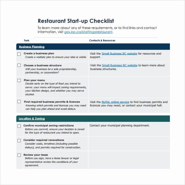 Free Restaurant Checklist Templates Best Of Sample Restaurant Checklist Template 25 Free Documents
