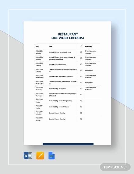 Free Restaurant Checklist Templates Fresh Sample Restaurant Checklist Template 25 Free Documents