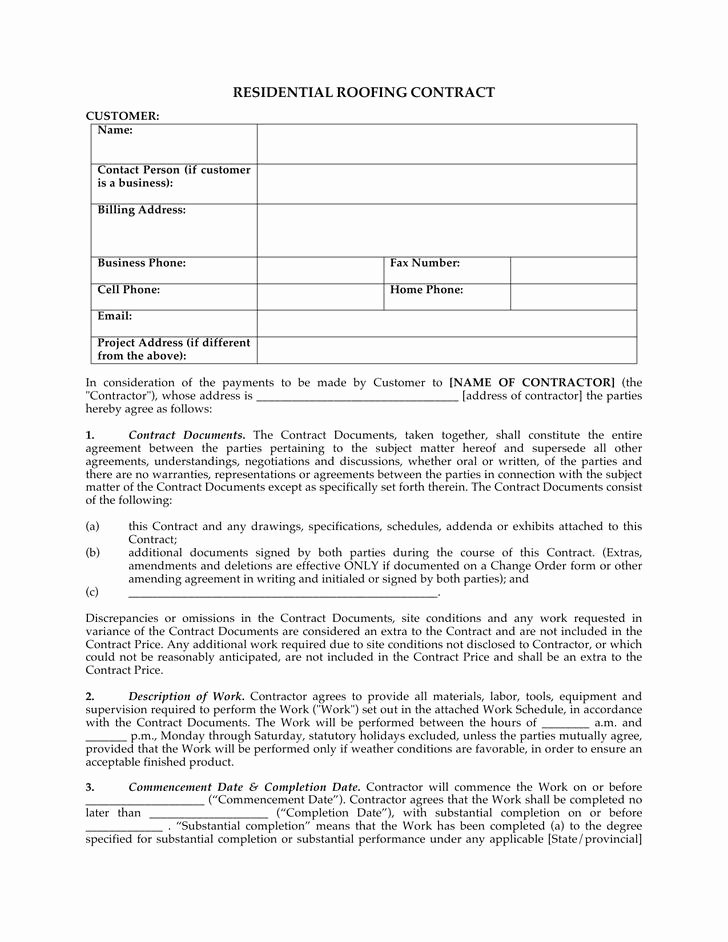 Free Roofing Contract Template Best Of 5 Roofing Contract Templates Free Download
