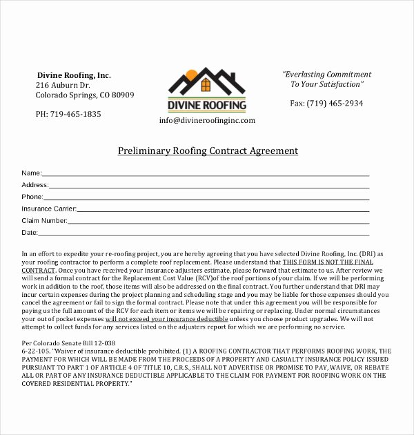 Free Roofing Contract Template Inspirational 15 Roofing Contract Templates Word Pdf Google Docs