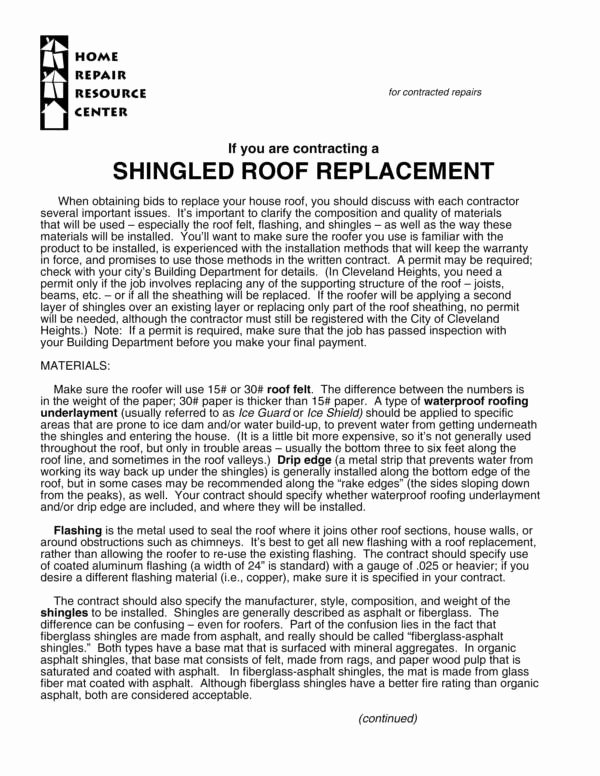 Free Roofing Contract Template New Free 11 Roofing Contract Samples & Templates In Pdf