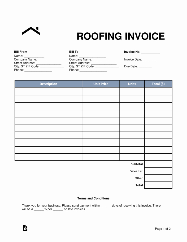 Free Roofing Contract Template Unique Free Roofing Invoice Template Word Pdf