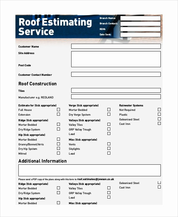 Free Roofing Estimate Template Lovely Roofing Estimates Templates Free Download Printable