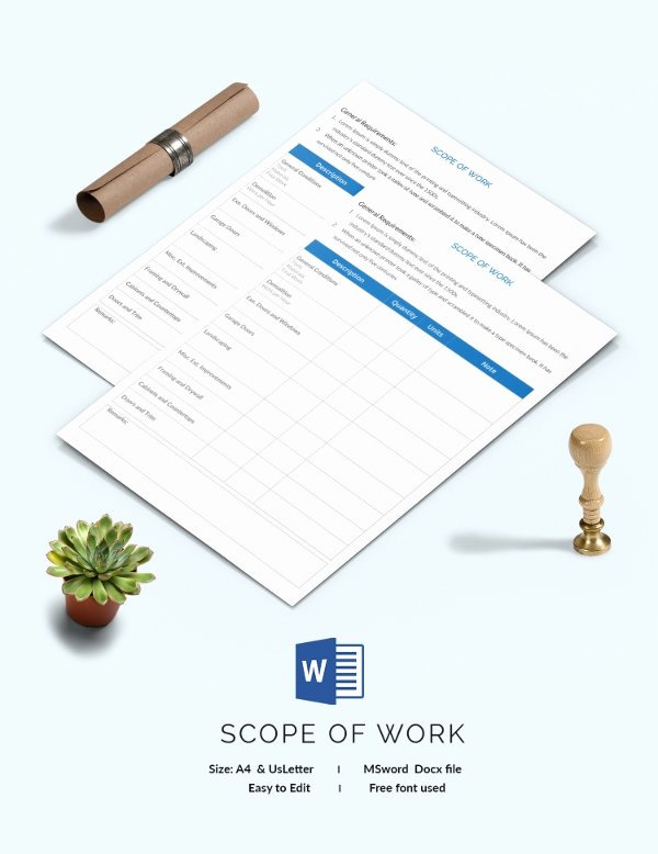 Free Scope Of Work Template Best Of Scope Of Work Template 36 Free Word Pdf Documents