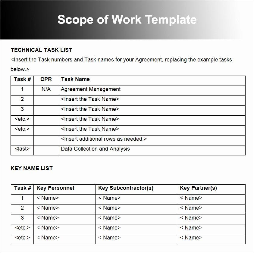 Free Scope Of Work Template Fresh Scope Work Template