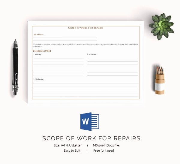 Free Scope Of Work Template New Scope Of Work Template 36 Free Word Pdf Documents
