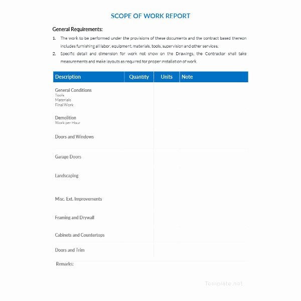 Free Scope Of Work Template Unique Scope Of Work Template 36 Free Word Pdf Documents
