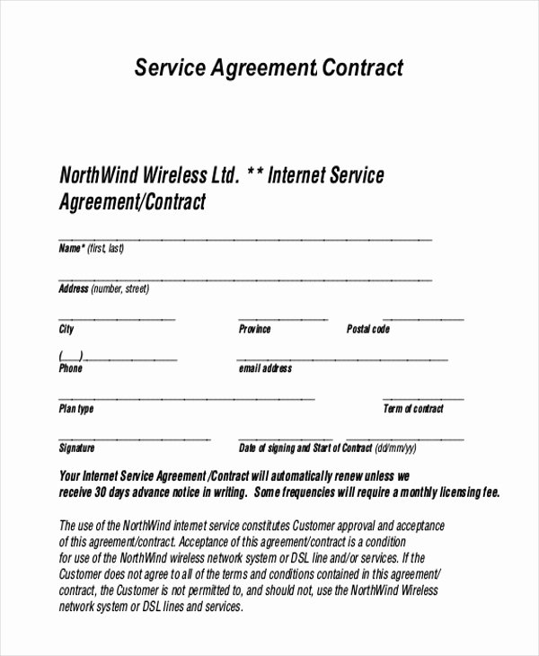 Free Service Contract Template Awesome Sample Service Agreement form 9 Free Documents In Pdf