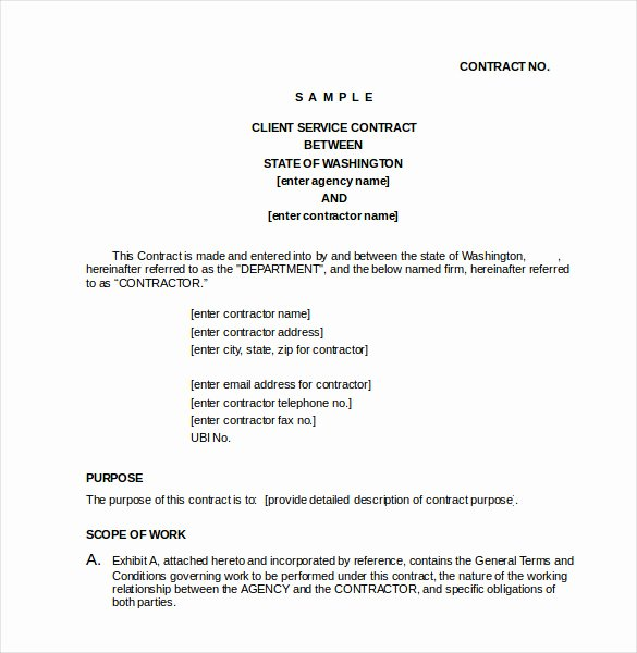 Free Service Contract Template Elegant Contract Template – 24 Free Word Excel Pdf Documents