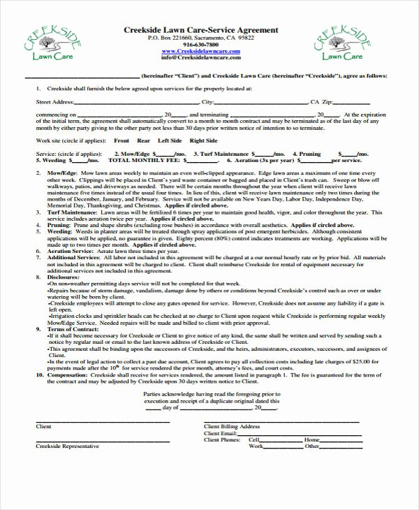Free Service Contract Template Lovely 10 Lawn Service Contract Templates Free Sample Example