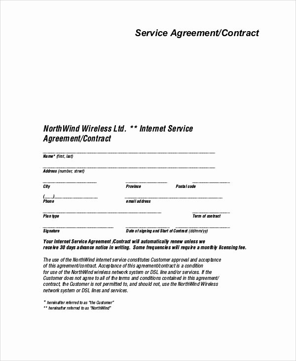 Free Service Contract Template New Sample Service Agreement Contract 9 Examples In Word Pdf
