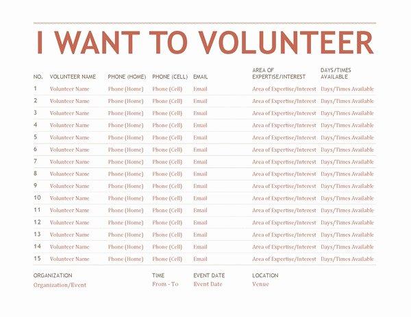 Free Sign Up Sheet Template Lovely Volunteer Sign Up Sheet