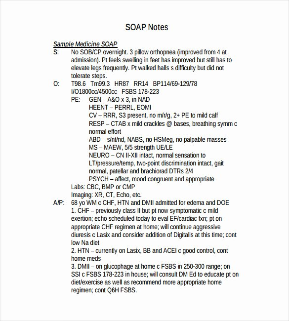 Free soap Note Template Elegant 11 soap Note Templates – Free Sample Example format