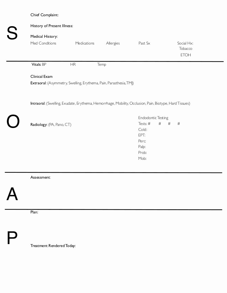 Free soap Note Template New soap Notes Dentistry Pages format