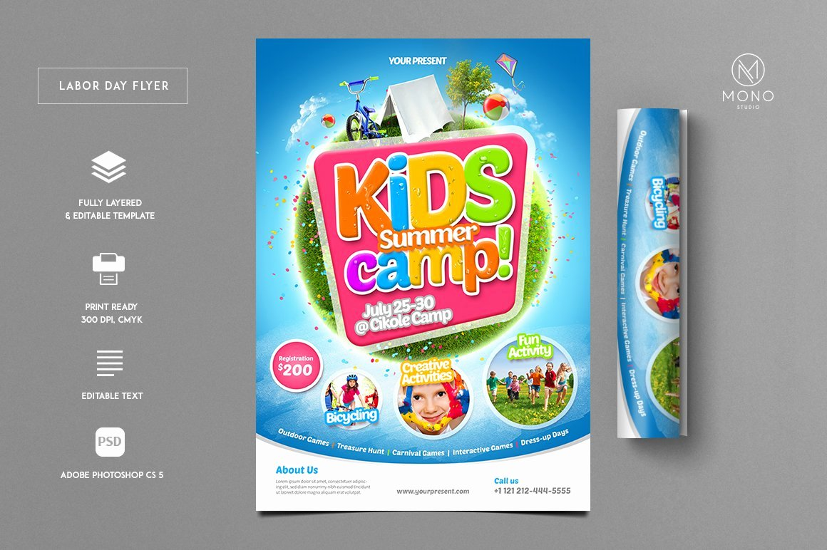 Free Summer Camp Flyer Template Awesome Kids Summer Camp Flyer Flyer Templates Creative Market