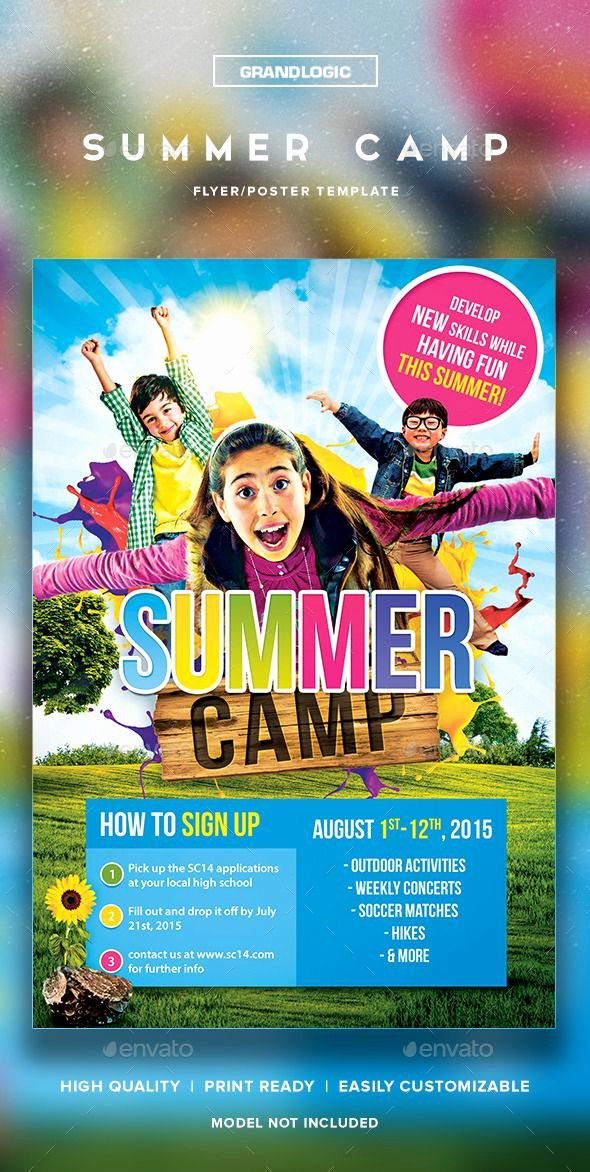 Free Summer Camp Flyer Template Awesome Summer Camp Flyer Poster
