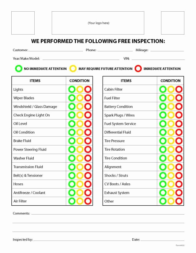 Free Vehicle Inspection form Template Awesome Free Printable Vehicle Inspection form Free Download