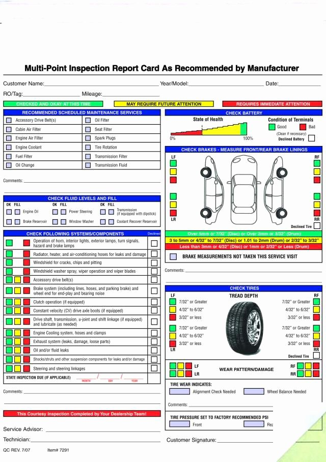 Free Vehicle Inspection form Template Lovely Free Printable Vehicle Inspection form Free Download