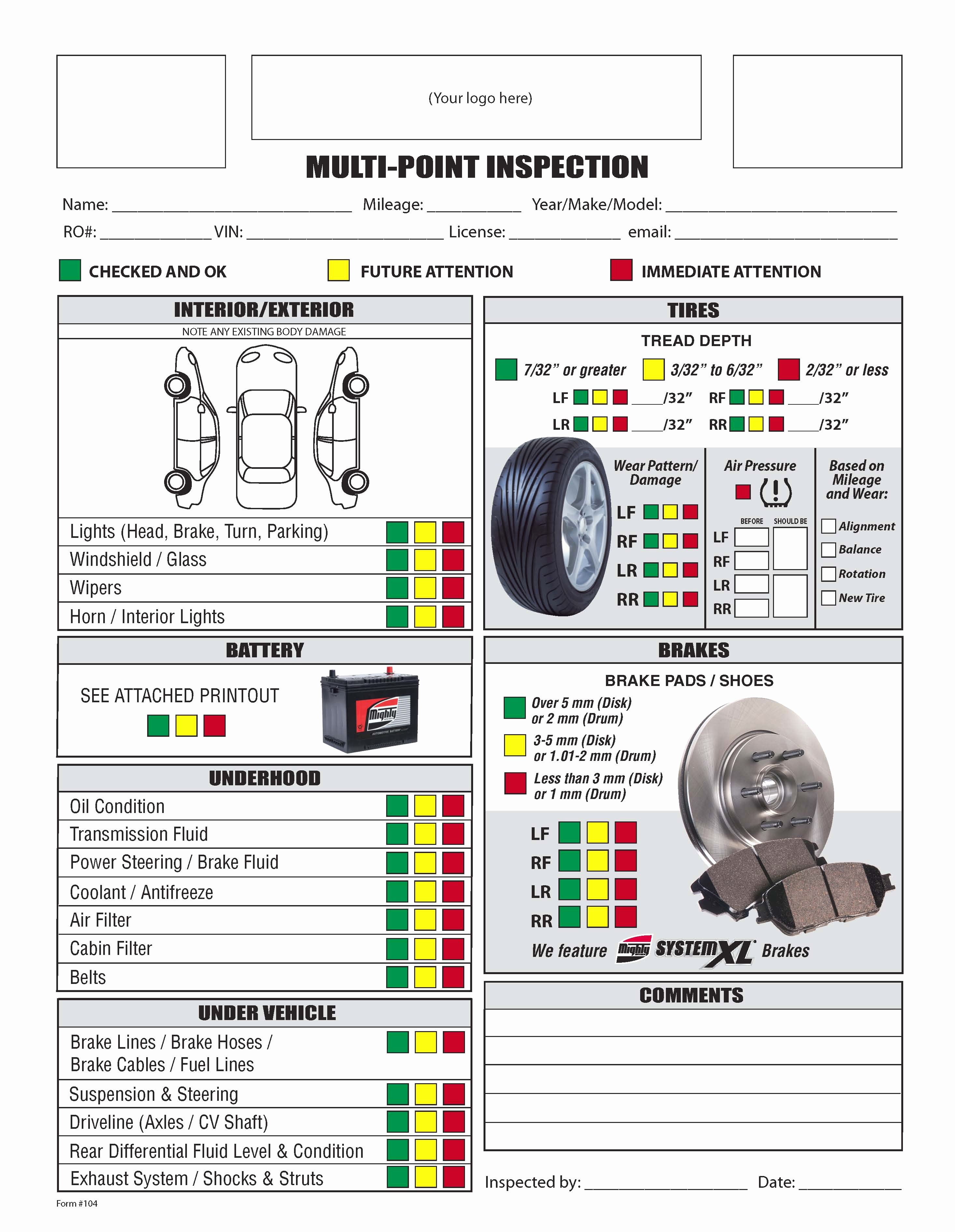 Free Vehicle Inspection Sheet Template New Vehicle Inspection form Template