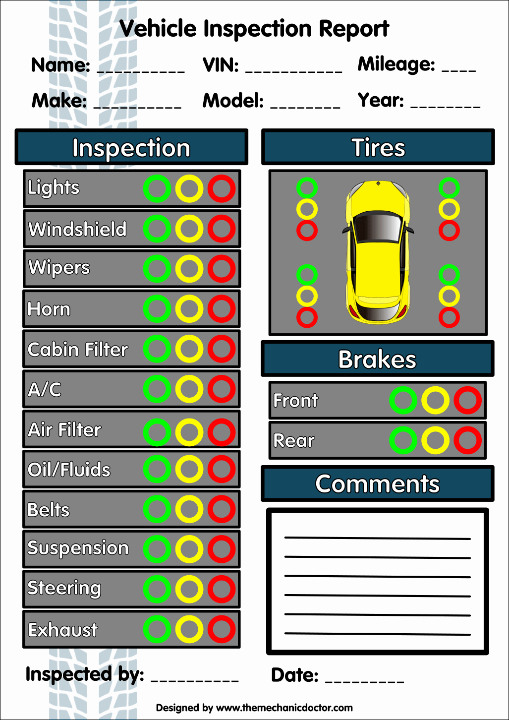 Free Vehicle Inspection Sheet Template Unique 6 Free Vehicle Inspection forms Modern Looking