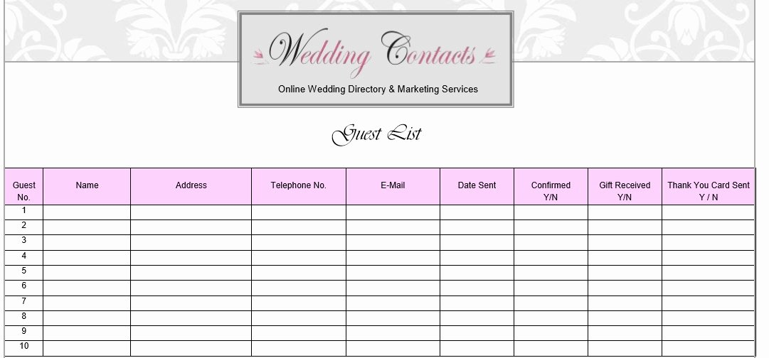 Free Wedding Guest List Template Awesome 30 Free Wedding Guest List Templates Templatehub