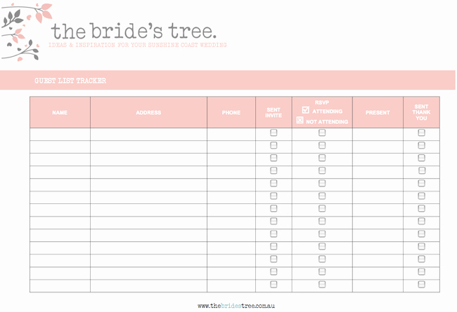 Free Wedding Guest List Template Elegant Guest List Tracker Printable Planning tool the Bride S Tree