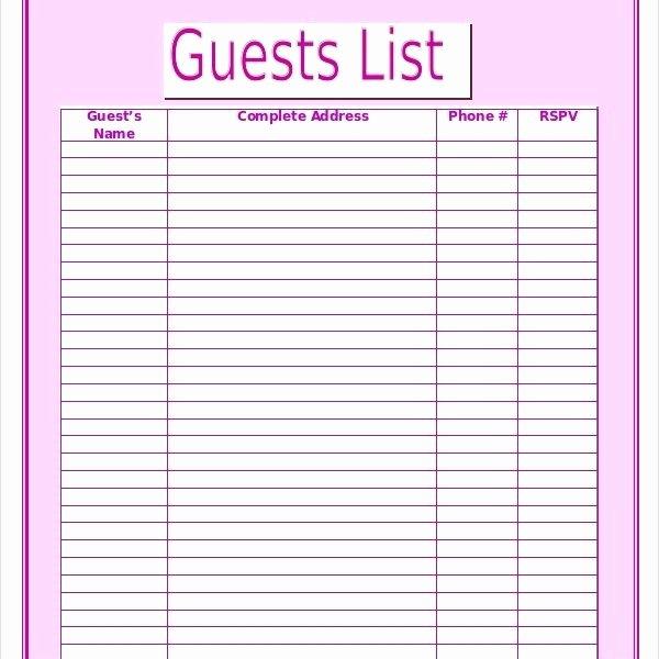 Free Wedding Guest List Template Fresh Wedding Guest List Template – 9 Free Word Excel Pdf