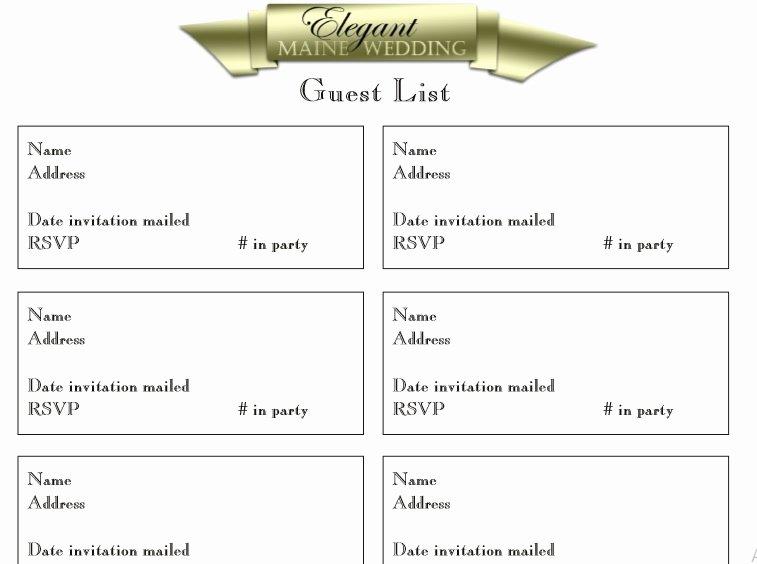 Free Wedding Guest List Template Inspirational 30 Free Wedding Guest List Templates Templatehub