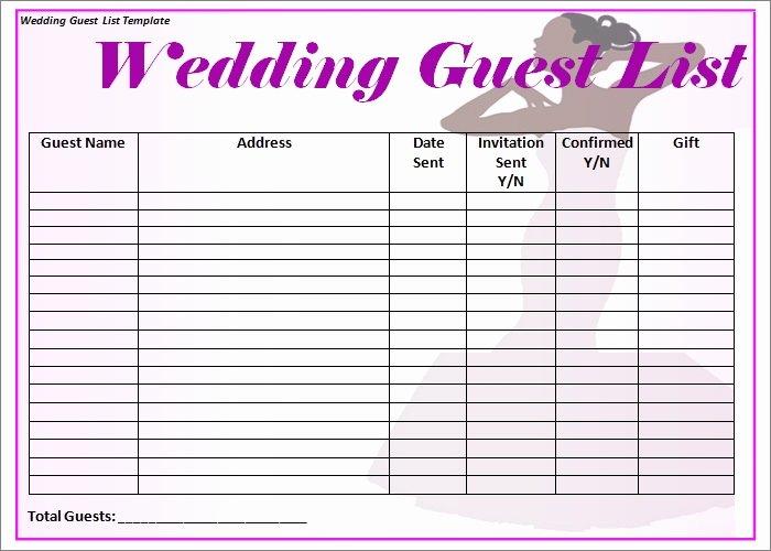 Free Wedding Guest List Template Inspirational Wedding Guest List Template 6 Free Sample Example
