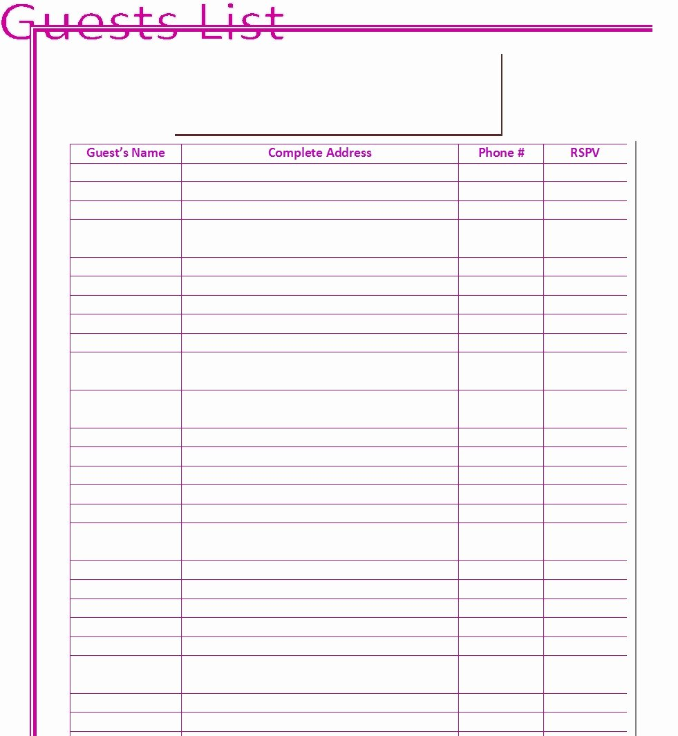 Free Wedding Guest List Template New 30 Free Wedding Guest List Templates Templatehub