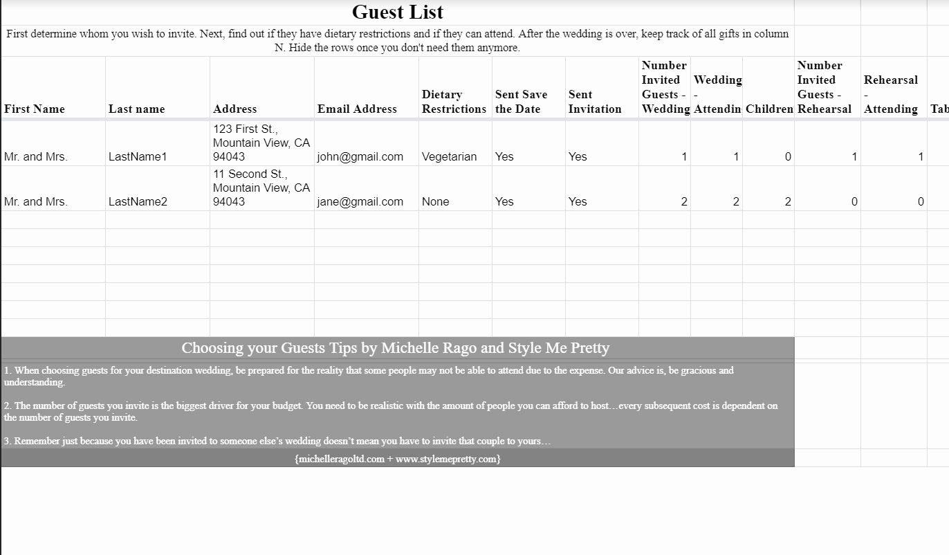 Free Wedding Guest List Template New 7 Free Wedding Guest List Templates and Managers