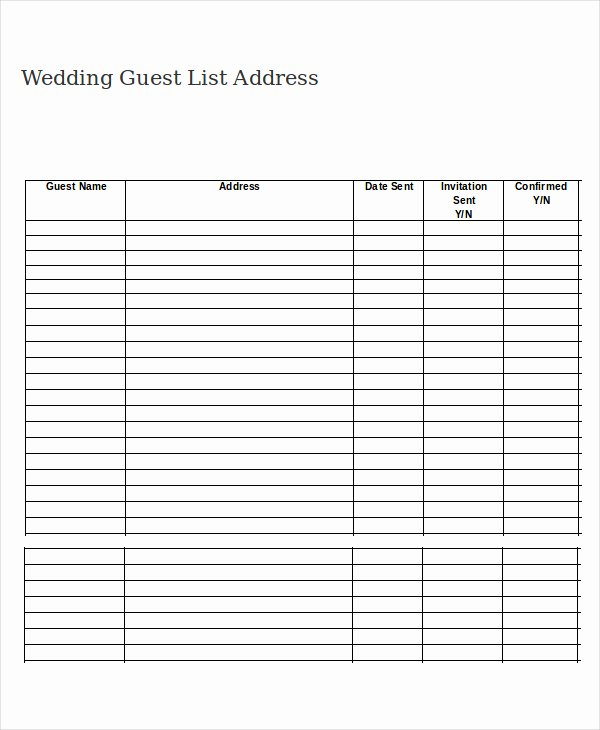 free printable wedding guest list template 3713