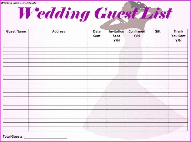 Free Wedding Guest List Template Unique Wedding Guest List Template I Would Make Just A Few More